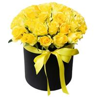 25 yellow roses in a box