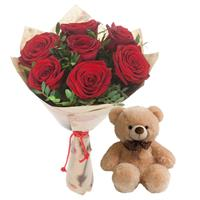 Bouquet of 7 red roses and Bear as a gift