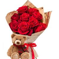 Bouquet of 9 red roses and a teddy bear as a gift