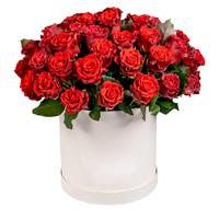 29 red roses in a hat box
