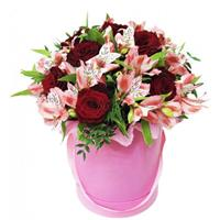 Original box with roses and alstroemeria