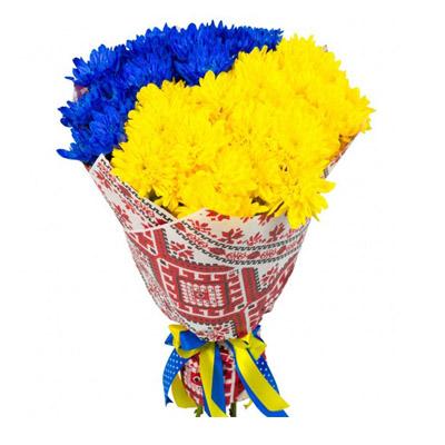 Букет з жовтих та синів хризантем.