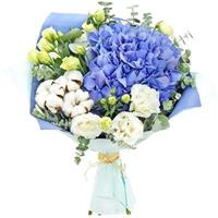 bouquet of hydrangeas and shrub roses