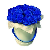 35 blue roses in a box