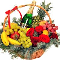 Christmas bouquet of roses and freesias, basket as a gift