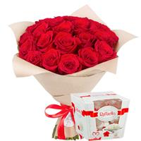 21 gorgeous red rose and Rafaello as a gift