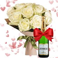 11 roses and Artemovsk champagne as a gift