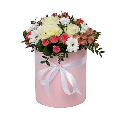 Mix of roses and chrysanthemums in a box