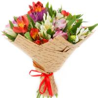 Charming bouquet of alstroemerias