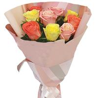 Bright bouquet of 9 roses