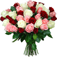 Bouquet of 45 multicolored roses