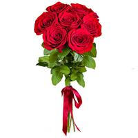7 bright red roses