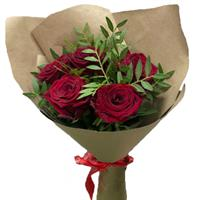 Bouquet of 5 juicy red roses
