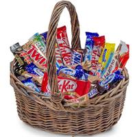 Gift basket of chocolate bars and sweets