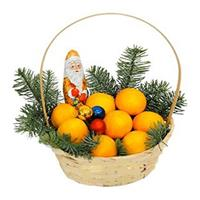 Christmas basket with oranges