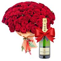 101 red rose and champagne as a gift
